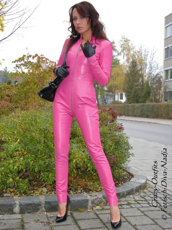 Details about Leather Catsuit ledercatsuit Suit Jumpsuit Pink Handcrafted show original title