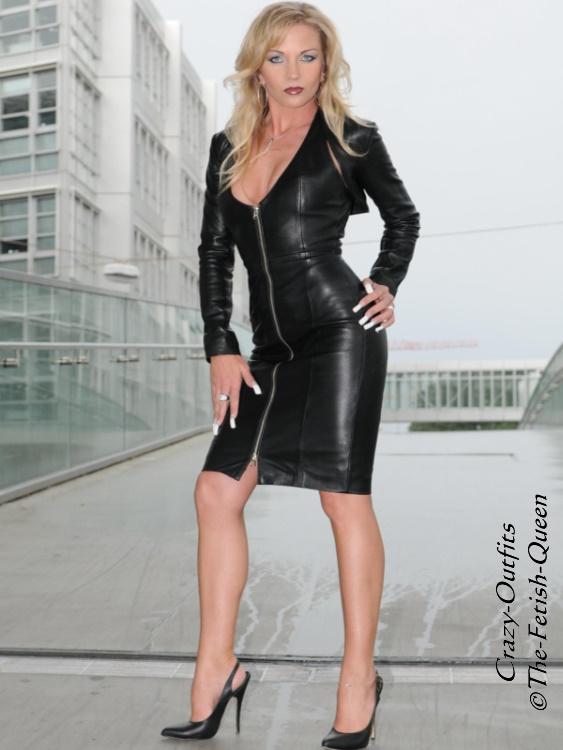 Lederkleid Leder Kleid Schwarz Mini Langarm Größe 32-58 XS XXXL