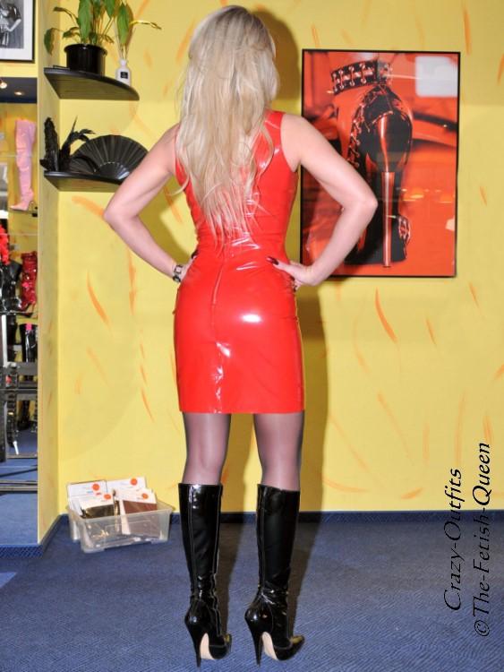 Details zu Lackkleid Kleid Rot Mini Ärmellos Lack Vinyl Maßanfertigung