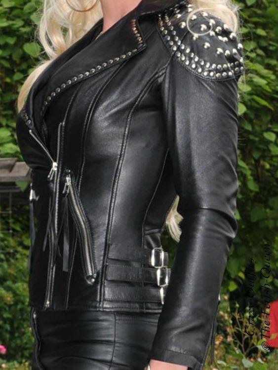 Lederjacke Leder Jacke Türkis Biker Ziertaschen Größe 32-58 XS XXXL
